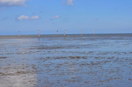 Watts, North Sea, Sea, Ebb, Hooksiel, Pillar, Tags