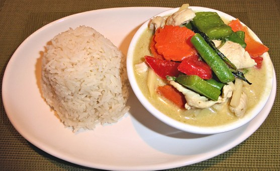 Rice, Green Curry Chicken, Vegetables, Food, Savory