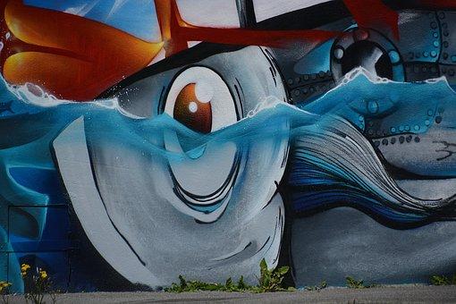 Tag, Eye, Fresco, Wall, Painting, Urban, City, Artistic