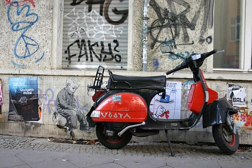 Berlin, Tag, Wall, Moped, Unexpected