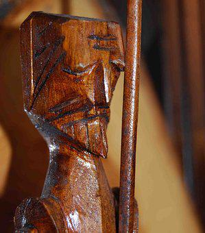 Don Quixote, Carving, Wood, Spear, Statue, Man, Weapon