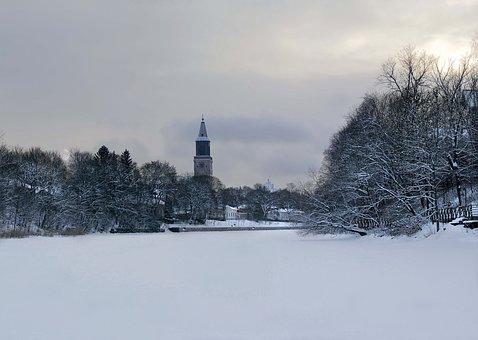 Turku, Church, Winter, River, Snow, Wood, Moon