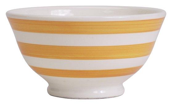 Bowl, Dish, Yellow, Ceramic, Dishware, Empty, Clean
