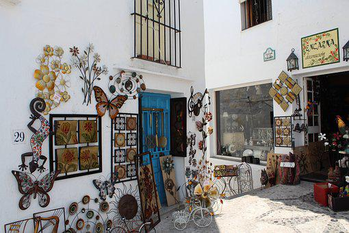 Street, Shops, Town, White, Architecture, Spain, Art