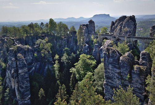 Bastei Bridge, Architecture, Bastei, Rock Formations