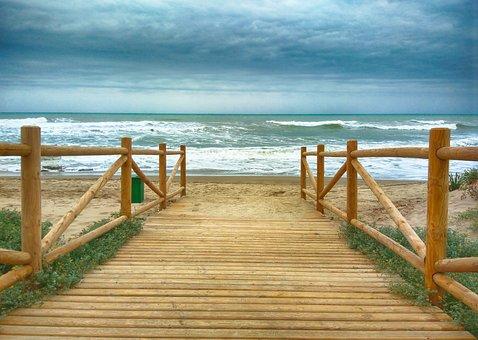 Wooden, Promenade, Beach, Wood, Nature