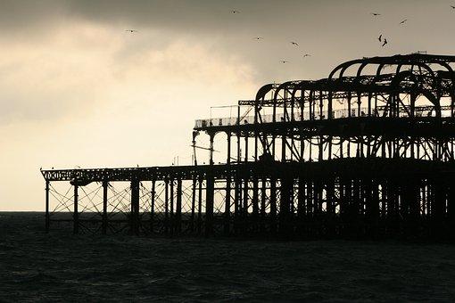 Brighton Pier, Beach, Sunset, Silhouette, Sea, England