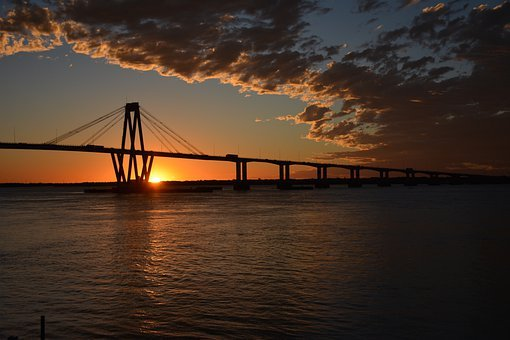 Bridge, Sun, Sunset, Nature, Landscape, Sky, Water