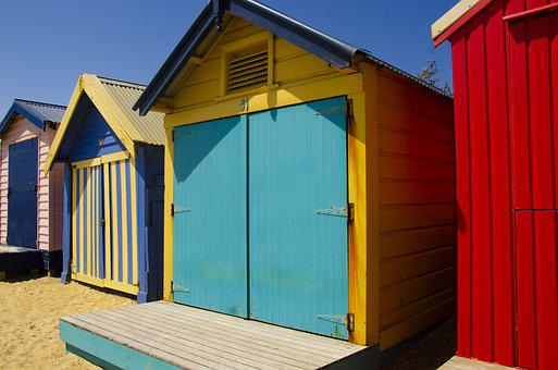 Brighton, Beach House, Shed, Colorful, Summer