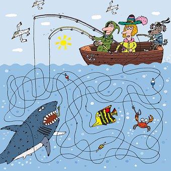 Fishing, Fish, Fisher, Sea, Ocean, Water, Shark, Crab