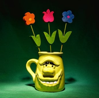Cup, Flowers, Still Life, Porcelain