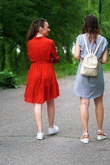 People, Young, Girls, Dresses, Back Bag, Talking