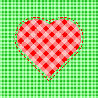 Heart, Symbol, Patchwork, Fabric, Checkered, Love