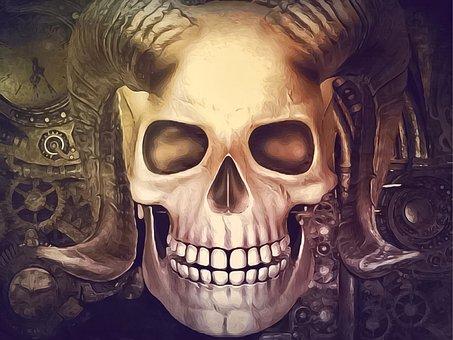Steampunk, Skull, Horns, Demon, Evil, Fantasy, Goth