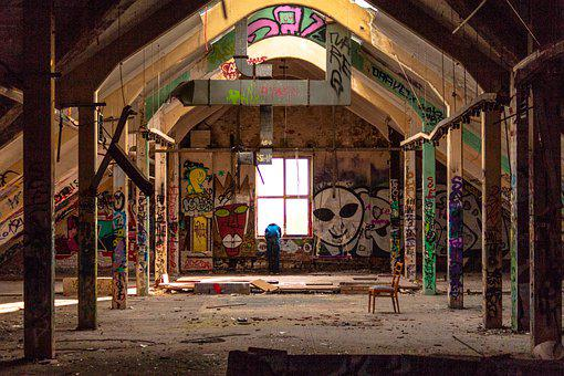 Attic, Light, Graffiti, Roof Windows, Human, Colorful