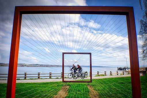 Cycling, Ammersee, Lake, Promenade, Art, Focus