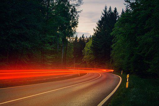 Road, Back Light, Forest, Night, Evening, Target, Away