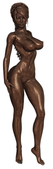 Bronze, Statue, Woman, Figure, Pose, Nude, Naked, Body