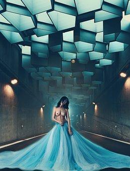 Girl, Nude, Walking, Sensual, Tunnel