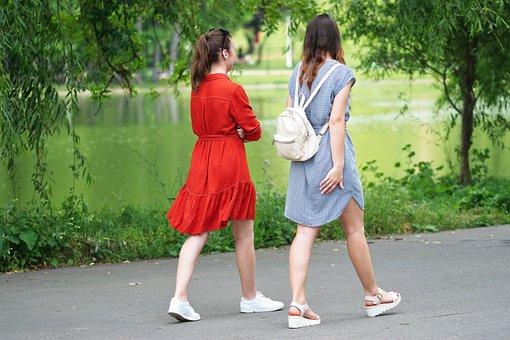 Girls, People, Young, Women, The Walking, Walkway, Park