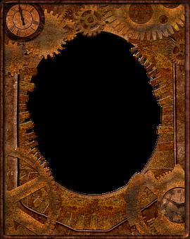 Frame, Steampunk, Gears, Pipes, Brass, Mechanical