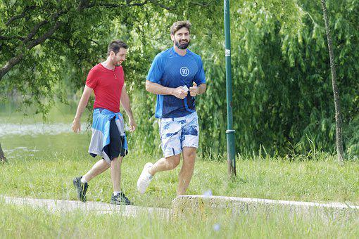 Men's, Young, People, Running, Park, Summer, Green