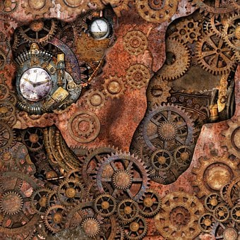 Steampunk, Gears, Pipes, Brass, Rust, Time Travel