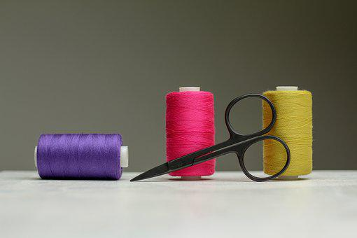 Spools Of Thread, Scissors, Colorful, Sewing Thread