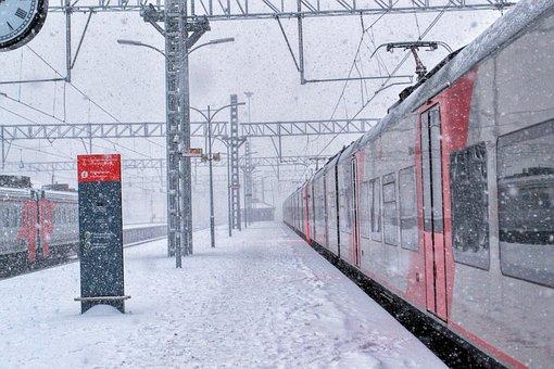 Winter, Snow, Platform, Station, Train