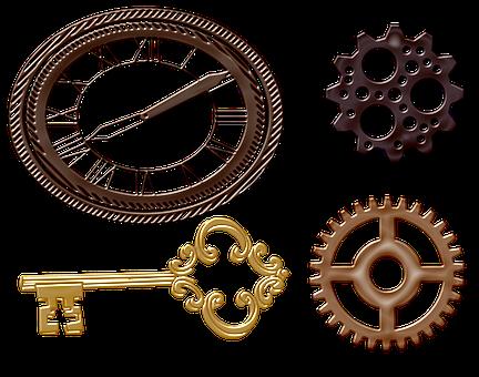 Steampunk, Gears, Clock, Keys, Machine, Metal, Fantasy