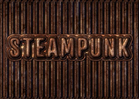 Steampunk, Text, Typography, Metal, Rust, Copper, Aged