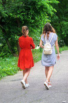 Girls, Young, People, The Walking, Walkway, Park, Trees