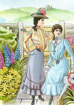Vintage, Ladies, Garden, 19th Century, Woman, Lady