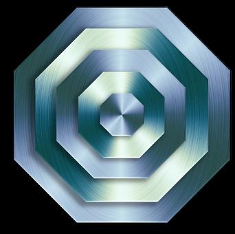 Metallic, Surface, 3d, Geometric, Octagon, Silver, Blue