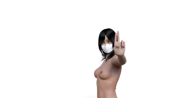 Stop, Covid, Mask, Gesture, Nude, Topless, Girl, Boobs