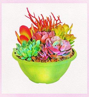 Watercolor Cactus, Cactus, Cacti, Succulent