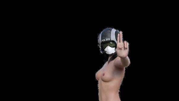 Nude, Girl, Pose, Erotic, Covid, Mask, Respirator