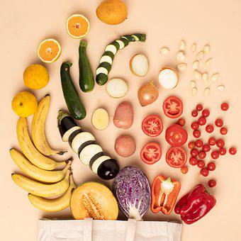 Groceries, Fruit, Vegetables, Flatlay