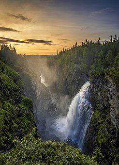 Waterfall, Sweden, Water, Nature, Landscape, River