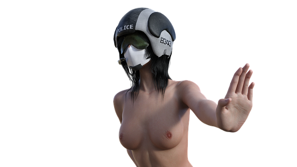 Nude, Policewoman, Pose, Mask, Respirator, Infection