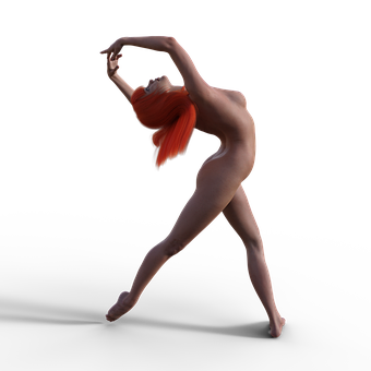 Nude, Dancer, Girl, Sexy, Pose, Jump