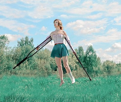 Crutches, Trauma, Hope, Recovery, Flight, Sky, Injury