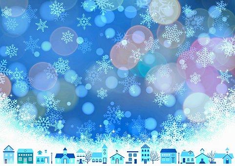 Christmas Background, Snow, Bokeh, Winter, Snowflakes
