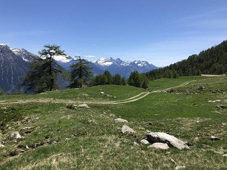 Towards The Pizzo Di Nara, Alpine Route, Alps, Alpine
