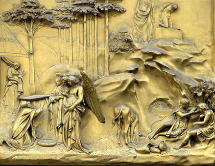 Italy, Florence, Baptistery, Portal, Bronze