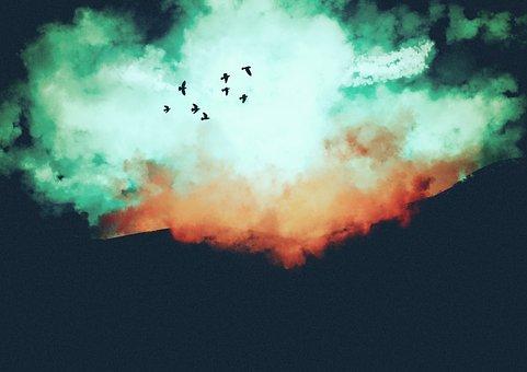 Skies, Painting, Birds, Vintage, Raven