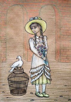 Girl, Bouquet, Vintage, Cage, Bird, Dove, Postcard
