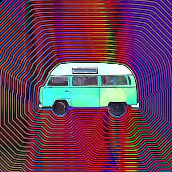Hippie, Bus, Vw, Camper, Van, Retro