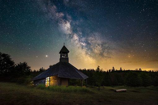 Night, Star, Chapel, Church, Religion, Christianity