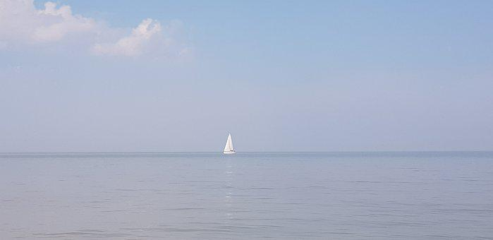 North Sea, Horizon, Boat, Pink Skies